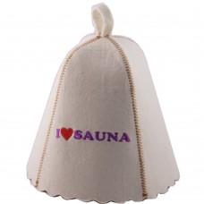 """Шапка для бани """"Я люблю сауну"""" (светло-серый войлок), Saunapro"""