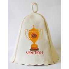"""Шапка для бани """"Чемпион"""" (светло-серый войлок), Saunapro"""