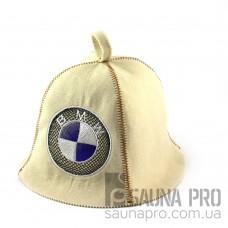 Шапка для сауны (белая), BMW, искусственный фетр, Saunapro