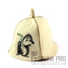 Шапка для сауны (белая), Ежик влюбленный, искусственный фетр, Saunapro
