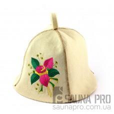 Шапка для сауны (белая), Цветок, искусственный фетр, Saunapro