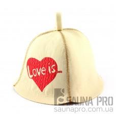 Шапка для сауны (белая), Love is, искусственный фетр, Saunapro