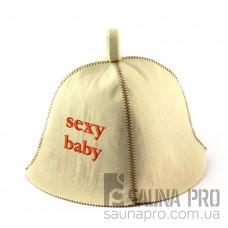 Шапка для сауны (белая), Sexy baby, искусственный фетр, Saunapro
