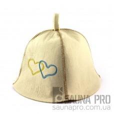 Шапка для сауны (белая), Сердца Украины, искусственный фетр, Saunapro