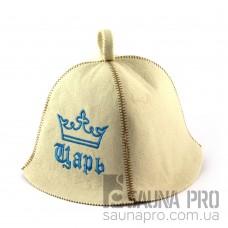 Шапка для сауны (белая), Царь, искусственный фетр, Saunapro