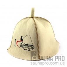 Шапка для сауны (белая), Крутой рыбак, искусственный фетр, Saunapro