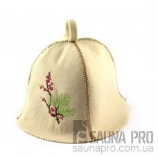 Шапка для сауны (белая), Цветущая сакура, искусственный фетр, Saunapro