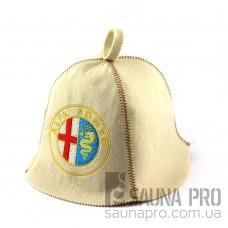Шапка для сауны (белая), Alfa Romeo, искусственный фетр, Saunapro