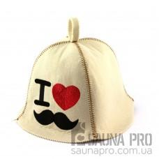 Шапка для сауны (белая), I love hipster, искусственный фетр, Saunapro