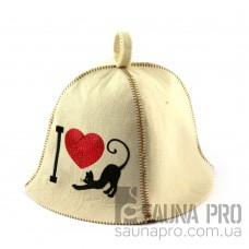 Шапка для сауны (белая), I love cat, искусственный фетр, Saunapro