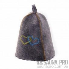 """Шапка для бани """"Сердца Украины"""" (серый войлок), Saunapro"""