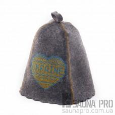 """Шапка для бани """" ukraine"""" (серый войлок), Saunapro"""