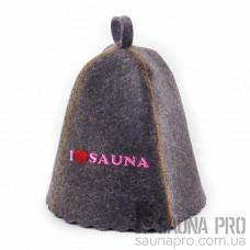 "Шапка для бани ""Я люблю сауну"" (серый войлок), Saunapro"