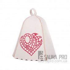 """Шапка для бани """"Love"""" (светло-серый войлок), Saunapro"""
