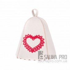 """Шапка для бани """"Сердце ажур"""" (светло-серый войлок), Saunapro"""