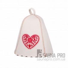 """Шапка для бани """"Сердце с узором"""" (светло-серый войлок), Saunapro"""