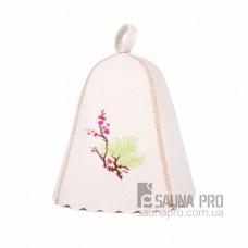 """Шапка для бани """"Цветущая сакура"""" (светло-серый войлок), Saunapro"""