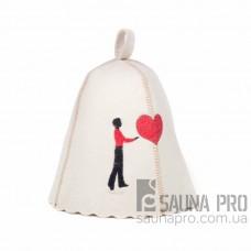 """Комплект шапок для бани """"Влюблённые""""  (белый натуральный войлок), Saunapro"""