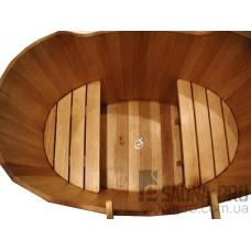 Купель дубовая 650 л LUXWOOD (2 сиденья, слив, лестница приставная), Saunapro
