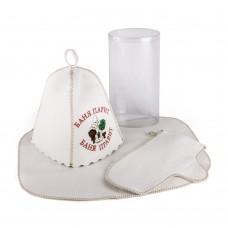 Набор для бани светло-серый войлок с вышивкой в ассортименте, Saunapro