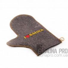 Рукавица для бани и сауны серый войлок с вышивкой в ассортименте, Saunapro