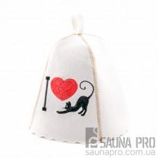 """Шапка для бани """"I love cat"""" (светло-серый войлок), Saunapro"""
