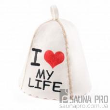 "Шапка для бани ""I love my life"" (светло-серый войлок), Saunapro"