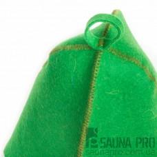 Шапка для бани цветной войлок (зелёный), Saunapro