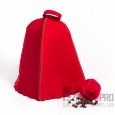 Шапка для бани цветной войлок (красный), Saunapro