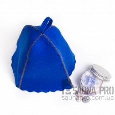 Шапка для бани цветной войлок (синий), Saunapro