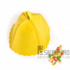 Шапка для бани цветной войлок (желтый), Saunapro