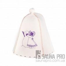 """Шапка для бани """"Девочка и снеговик"""" (светло-серый войлок), Saunapro"""