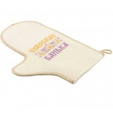 Рукавица для бани и сауны белый войлок с вышивкой в ассортименте, Saunapro