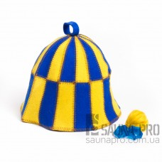 """Шапка для бани """"Клетка"""" желто-голубая (цветной войлок), Saunapro"""