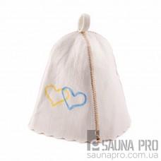 """Шапка для бани """"Сердца Украины"""" (светло-серый войлок), Saunapro"""