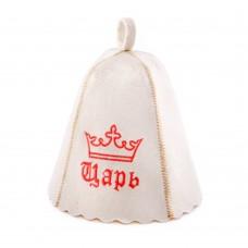 """Шапка для бани """"Царь"""" (светло-серый войлок), Saunapro"""