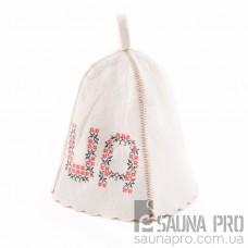 """Шапка для бани """"UA"""" (светло-серый войлок), Saunapro"""