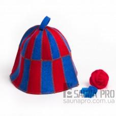 """Шапка для бани """"Клетка"""" красно-синяя (цветной войлок), Saunapro"""